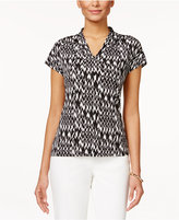 Kasper Printed V-Neck Cap Sleeve Top