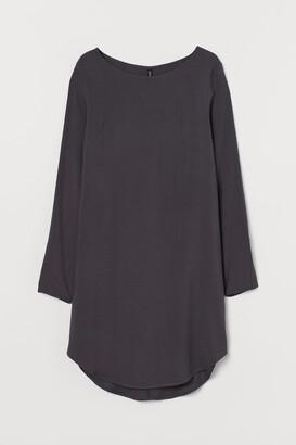 H&M Short Viscose Dress - Gray