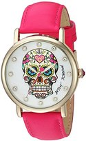 Betsey Johnson Women's Quartz Metal and Leather Casual Watch, Color:Pink (Model: BJ00515-08)