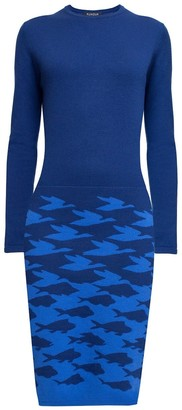 Sea & Sky Two-Tone Blue Jacquard Knitted Dress