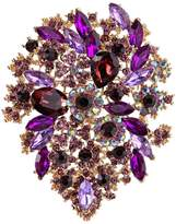 Ever Faith Gold-Tone Brooch Leaf Cluster Purple Austrian Crystal A02252-63
