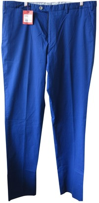 Isaia Blue Cotton Trousers