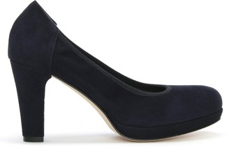 Calpierre Navy Court Suede Platform Court Shoes