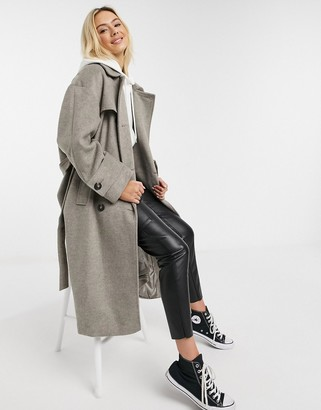 ASOS DESIGN brushed twill trench coat in grey