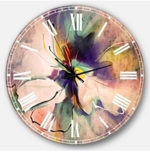 Design Art Designart Oversized Floral Round Metal Wall Clock