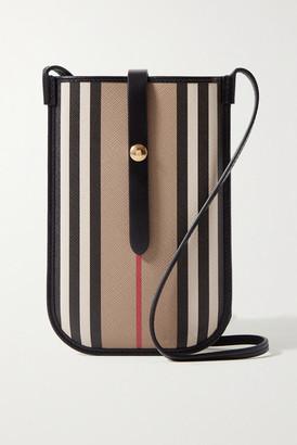 Burberry Striped Leather-trimmed Coated-canvas Shoulder Bag - Beige