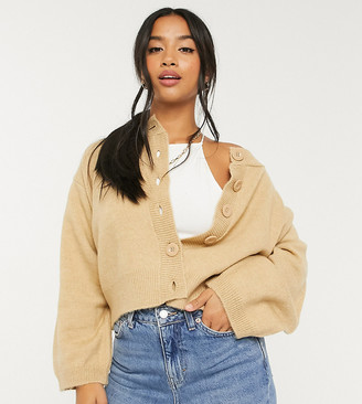 ASOS DESIGN Petite fluffy cardigan with crew neck in camel