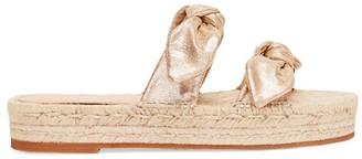 Loeffler Randall Daisy Two Bow Leather Espadrille Platform Sandals
