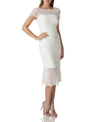 Kay Unger New York Boat-Neck Short-Sleeve Textured Lace Sheath Dress w/ Flounce Hem