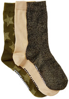 Steve Madden Metallic Crew Socks - Pack of 3