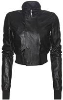 Rick Owens Cropped Leather Bomber Jacket