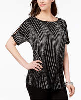 JM Collection Printed Pleated Boat-Neck Top, Created for Macy's