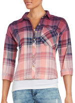 Design Lab Lord & Taylor Plaid Cropped Button-Front Shirt