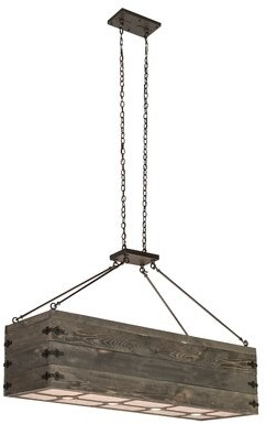 Minerva 12 - Light Kitchen Island Square / Rectangle Pendant with Wood Accents Williston Forge