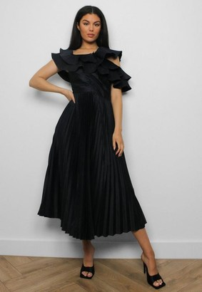 Missguided Black One Shoulder Pleated Midaxi Dress
