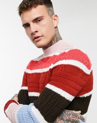 ASOS DESIGN knitted textured stripe turtle neck jumper in red