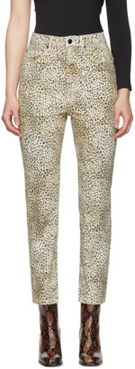 Alexander Wang Yellow Cheetah Cult Rise Jeans