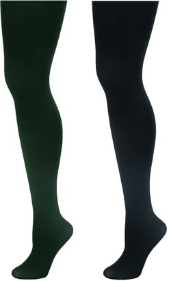Linea By Louis Dell'olio Body 100 Denier Super Opaque Control Top Tights - 2 pack