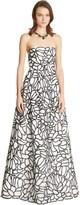 Oscar de la Renta Floral Embroidered Tulle & Silk Faille Gown