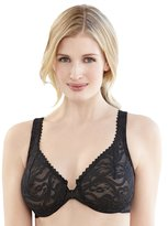 Glamorise Women's Plus-Size Elegance Front Close Lace Underwire, Cafe