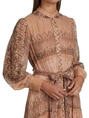 HEMANT AND NANDITA Shirred Belted Maxi Dress