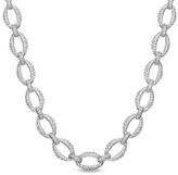 Zales AVA Nadri Crystal Open Link Necklace in White Rhodium Plated Brass - 16""