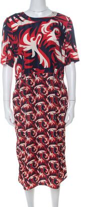 Marni Red & Blue Mixed Print Silk Blend Short Sleeve Dress M