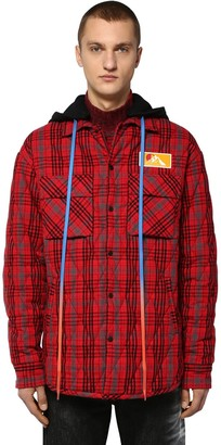 Off-White Oversize Hooded Flannel Shirt Jacket