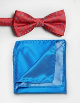 Selected Red Plain Bow Tie and Pocket Square