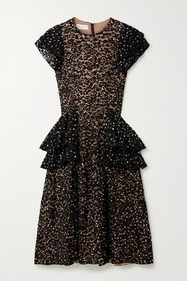 Michael Kors Ruffled Embellished Corded Lace Peplum Midi Dress - Black