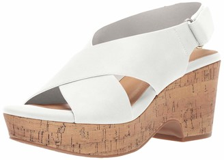 Chinese Laundry Women's Chosen Wedge Sandal White Burnished 6.5 M US