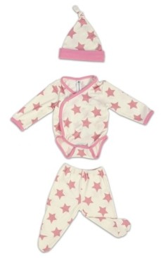 Earth Baby Outfitters Baby Girls Bamboo 3 Piece Star Newborn Set