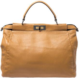 Fendi Tan Leather Large Peekaboo Top Handle Bag
