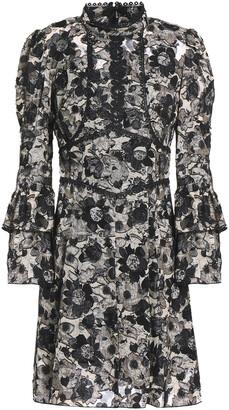 Anna Sui Appliqued Floral-print Fil Coupe Silk-blend Mini Dress