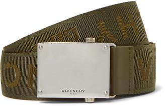 Givenchy 3.5cm Army-Green Leather-Trimmed Logo-Jacquard Webbing Belt