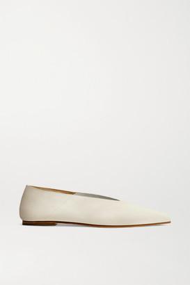 AEYDĒ Moa Leather Point-toe Flats - Cream
