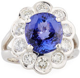 Diana M. Jewels 18k White Gold Tanzanite & Diamond Cocktail Ring, Size 7