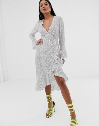 Pretty Lavish midi wrap frill dress in polka dot-White