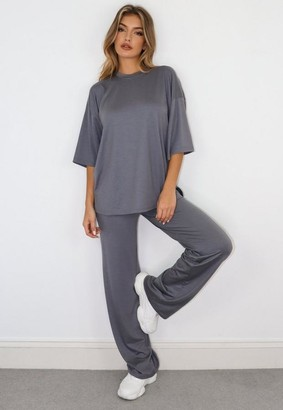 Missguided Gray Jersey T Shirt And Pants Co Ord Set