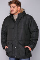 Yours Clothing BadRhino Black Parka With Faux Fur Trim Hood
