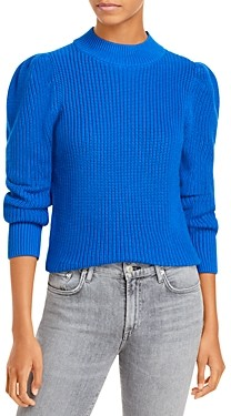 Aqua Cotton Puff Sleeve Mock Neck Sweater - 100% Exclusive