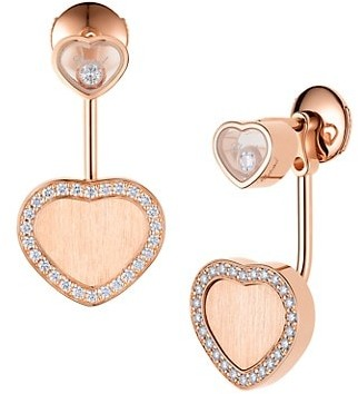 Chopard x 007 Happy Hearts - Golden Hearts 18K Rose Gold & Diamond Pave Limited Edition Drop Earrings