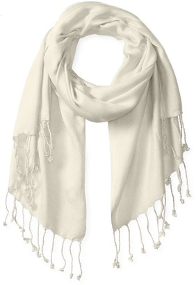 Big Buddha Women's Solid Light Twill Pashmina Wrap Scarf with Fringe