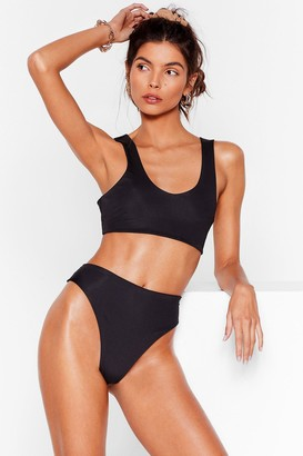 Nasty Gal Womens Seas the Moment High-Waisted Bikini Bottoms - Black - 8