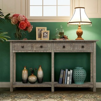 Parrot Uncle Farmhouse Grey Entryway 4-Drawer Console Table