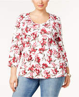 Karen Scott Plus Size Cotton Printed V-Neck T-Shirt, Created for Macy's