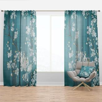 Design Art Designart 'Blue Cherry Blossoms I' Traditional Curtain Panel