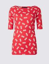 Marks and Spencer Pure Cotton Printed Half Sleeve T-Shirt
