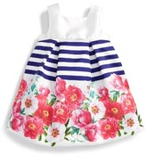 Luli & Me Infant Girl's Peony Stripe Dress