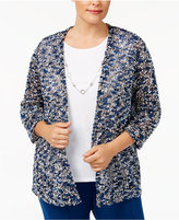 Alfred Dunner Plus Size Arizona Sky Collection Layered-Look Cardigan